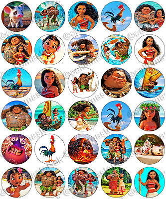 30 x Moana Party Collection Edible Rice Wafer Paper Cupcake Toppers