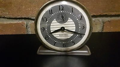 Vintage Silver Bell Wind up Clock Works Great!