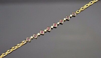 14k Yellow Gold Ruby Bracelet with Diamond Accents 7""