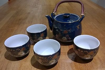 Japanese Tea Set Teapot and Four Cups Cobalt Blue with Flower Design