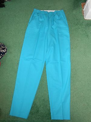 Vintage 80s-fully elasticated waist- tapered-Turquoise trousers-uk 16.