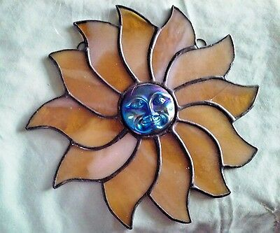 """Stained Glass Sun Face Window Hanging Blue Satin Face Yellow Stain Glass Rays 7"""""""