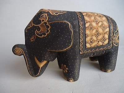 Hand Carved Wood ELEPHANT sculpture animal statue hand painted
