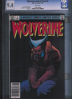 Wolverine Limited Series # 3 CGC 9.4 White Pages. UnRestored