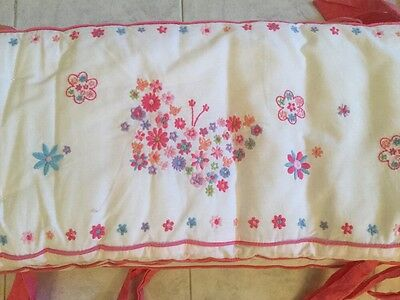 Pottery Barn Kids nursery Crib Bumper Butterfly White Pink Embroidered