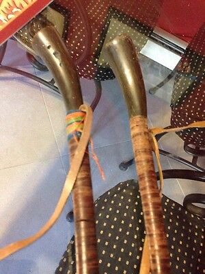 2 Vintage Horse Jockey Whip Crop Or Something ?  Else Leather Horn Help ID