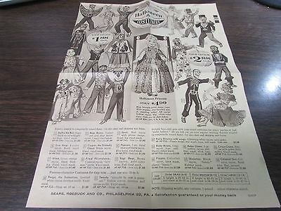 Vintage - Halloween Costumes - Sears Roebuck & Company - Single Page Flyer 1960S