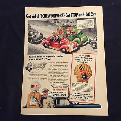 1939 Original Print Ad - Shell Gasoline - Join The Shell Share-The-Road Club
