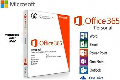 MS Office 365 Personal 1-PC/Mac/Tablet 1 Jahres ABO Office 2016 PKC BOX NEU