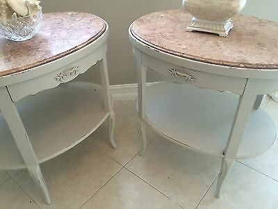 Vintage Antique French Marble Top Nightstands Or End Tables Large Size!!