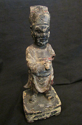 Beautiful Antique Asian Chinese Man Carved Wooden Statue