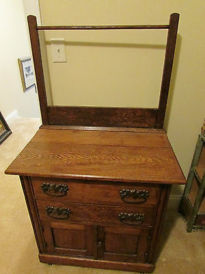 Beautiful Antique Oak Washstand With Towel Bar