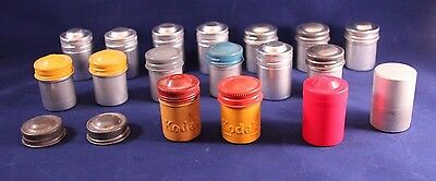 Lot of 17+ Vintage Aluminum 35mm Film Canisters Metal Some Kodak Colored
