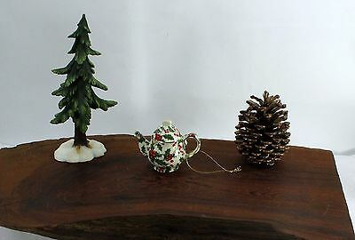 Vintage Miniature Holly and Berry Teapot Ornament bbb459