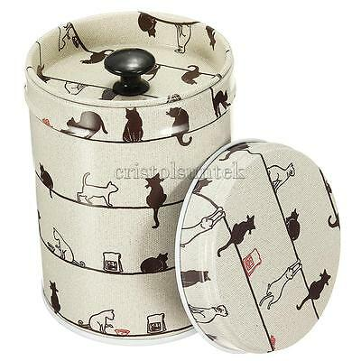 Sealed Tea Sugar Jar Tin Canister Box Double Cover Storage Container Cats