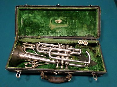 J. W. York & Sons antique silver cornet with extra slides and mluthpieces