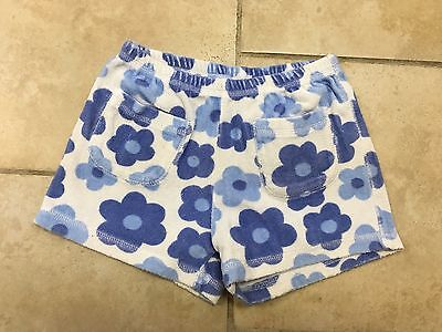 Mini Boden Blue Floral Towelling Terry Shorts, Girls Size 7-8
