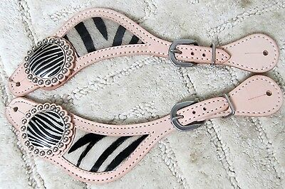 New Adult Light Oil Western Zebra Cowhide Leather Spur Straps Cowboy Rodeo