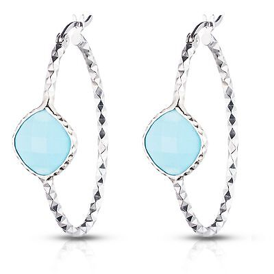 Sterling Silver Oval hoop earrings with Genuine Semi-precious Turquoise Stone