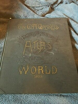 1895 C. A. Gaskell's Family & Business Atlas of the World Hand Colored 285pgs.