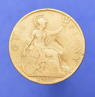 Lot# 23 British Coins: Great Britain 1913 George V Penny KM# 810
