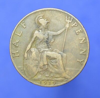 Lot# 9 British Coins: Great Britain 1919 George V Half Penny KM# 809
