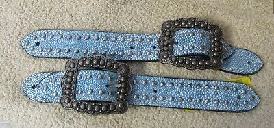 Ladies Blue Stingray Showman Spur Straps Belt Style w/Brushed Silver Buckles
