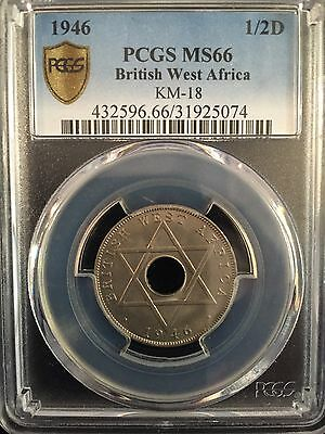 1946 British West Africa 1/2 Penny Km-18 Pcgs Ms66