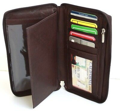 100%. leather Men Lady Holder Id Card Checkbook Cover Wallet Zip Around Brown