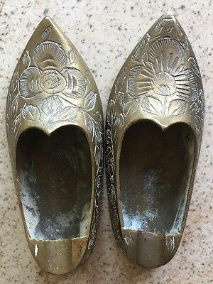 Vintage Collectible Lot of 2 Solid Brass India Shoes Ashtray Ornate Fancy