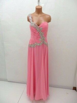 Tony Bowls Le Gala Pink Beaded Chiffon Gown Size 14 NWT Retail $458