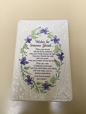 """WISHES FOR SOMEONE SPECIAL"" Ceramic Plaque (5"" x 7.5"") (NEW IN GIFT BOX)"