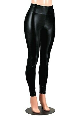 Shiny Black Metallic Leggings XS to 2XL 3XL plus size pants wet vinyl look goth