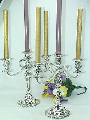 International Silver Countess Pair Candelabras  2 Arm  3-Light  Candle Holders