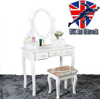 White Dressing Table Makeup Desk with Stool 5 Drawers Oval Mirror Bedroom Lady