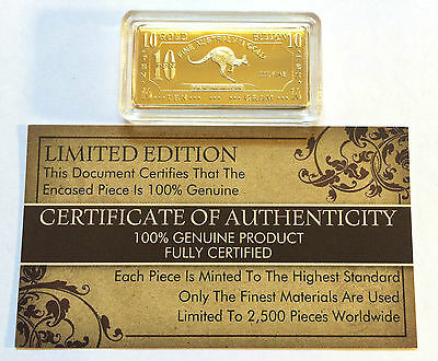 "NEW 10 Gram ""Kangaroo"" Certified Ingot Finished in 999 Fine 24 k Gold a"