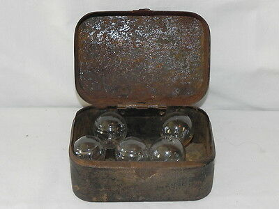 Atq Metal Lamp Box Dover Stamping Mfg. Co. With 5 Vtg. Automobile Bulbs