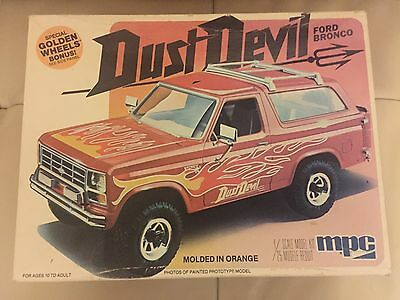 Vintage MPC Ford Bronco 4X4 Dust Devil Model Car Kit 1981 Golden Wheels Started