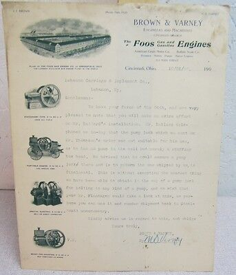 1906 Foos Gas Engine letterhead Brown Varney Cincinnati O farm hit miss ag