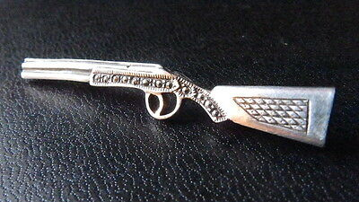 ANTIQUE sterling and marcasite RIFLE brooch