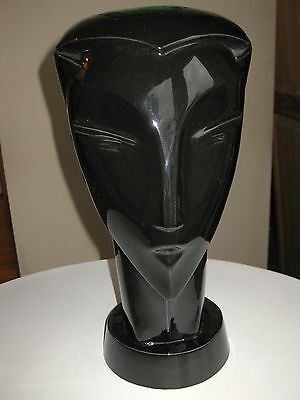 Ceramic Art Deco Male Sleek Head/ Hat Display Stand Signed