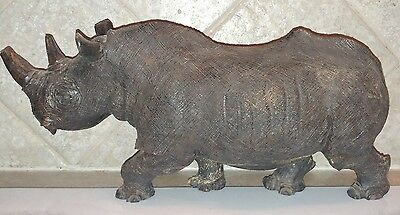 Teak Wood Rhino Carving Carved Rhinoceros Sculpture Figurine Animal Collectibles