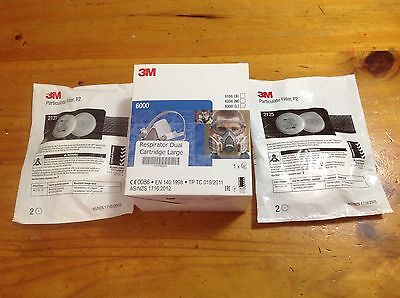 Half Face Respirator (Large) + 2 Pairs Of 2125 Filters, Genuine 3M