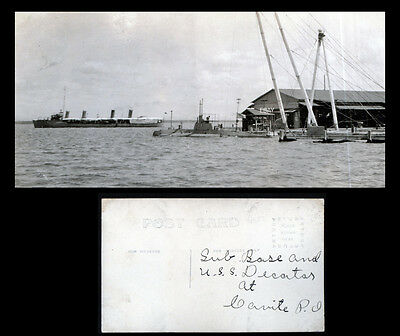 Navy Submarine Base - Uss Decatur - Cavite Philippines Real Photo Postcard Ww1