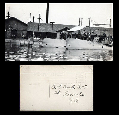 Navy Submarine Base - Subs A-5 & A-7 Cavite Philippines Real Photo Postcard Ww1