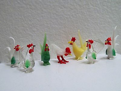 Vintage Blown Glass Miniature Chicken Rooster Figurines Colorful Flock of 7