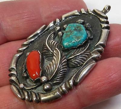 Old Vintage Navajo Sterling Silver, Turquoise & Red Coral Pendant
