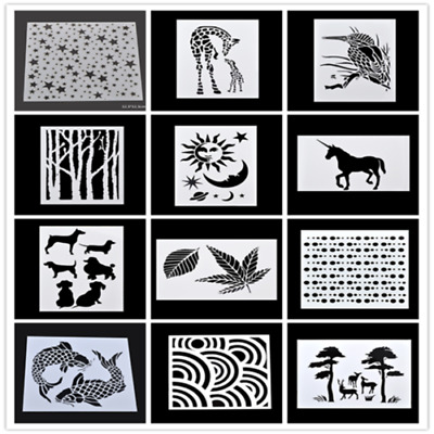Various Spray Painted Stencils Template Wall Decor Drawing Scrapbook DIY Making
