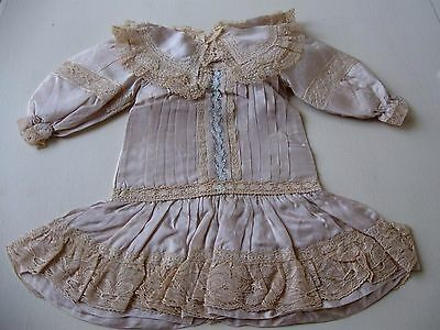 "Antique Style Ecru Silk & Lace Dress for 20"" German Bisque / French Bebes"
