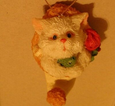 White Cat inside Winter hat Holding Fish Christmas Holiday Ornament